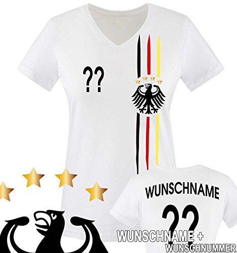 Comedy Shirts - WM 2018 | M1 | VORNE + HINTEN | Wunsch - Damen V-Neck T-Shirt - Weiss/Schwarz-Rot-Gelb Gr. L