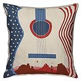 N\A Music Square Kids Pillowcase Country Music Festival Evento Ilustración Guitarra con Bandera Americana Diseño Imprimir Crema Rojo Azul Fundas de cojín Fundas de Almohada para sofá Dormitorio Coche