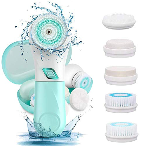 Facial Cleansing Brush, EMISK IPX6 Waterproof Powered Face Brush with 5 Brush Heads, Electric Facial Spin Cleanser with 2 Speed Rotation - Deep Cleansing, Gentle Exfoliating for All Skin Types