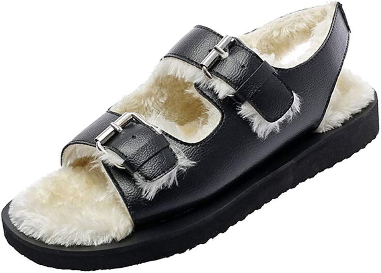 IWlxz Women's PU(Polyurethane) Spring &Fall Minimalism Sandals Flat Heel Black