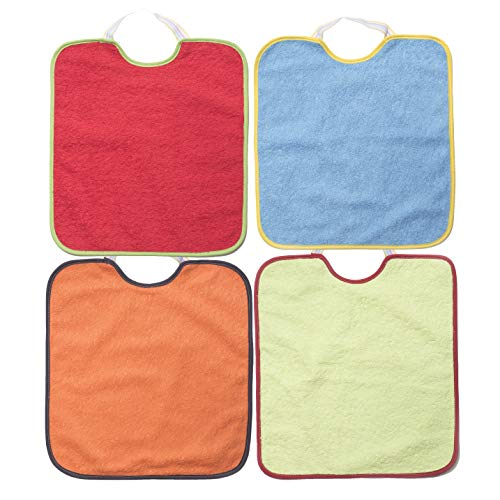 Ti TIN - Pack 4 Baberos Impermeables para Bebé Niño 90% Algodón - 10% Poliéster   Baberos con cierre de Goma para bebés de 6 a 18 meses, 23x28 cm