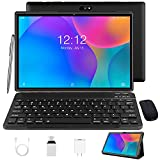 Android Tablet 10 inch,Tablet with Keyboard Mouse 3GB RAM 32GB ROM/128GB, Android 9.0 Pie, Dual SIM 4G, 8MP Camera, 8000mAh, Quad Core, OTG, GPS (Black)