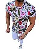 Pukemark Men's Summer Casual Slim Fit Short Sleeve Floral Graphic Hawaiian T-Shirt Tops Red