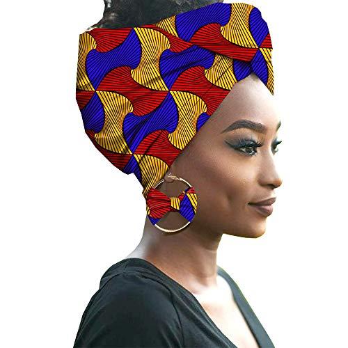 HZQIFEI Mujer Accesorios para El Cabello Moda Colores Brillantes Hijab de Impresión de Patrones con Pendientes de Arco (Style#22, 55 * 180cm)