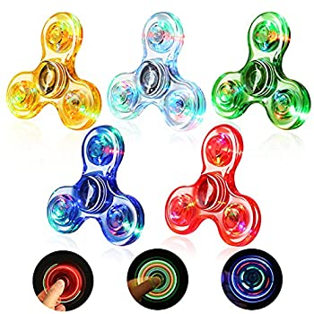SCIONE Fidget Spinners 5 Pack,Light up Fidget Toys Set for Kids-LED Crystal Fidget Packs Finger Toy Hand Fidget Spinner-ADHD Anxiety Toys Stress Relief Reducer Bulk Fidget Toys Boxed
