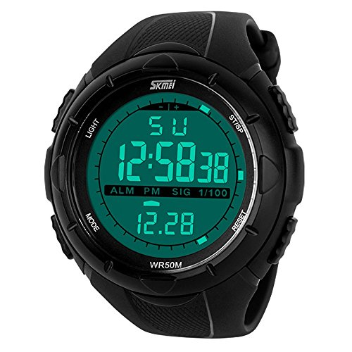 TONSHEN Reloj de Pulsera Deportivo LED Digital Resistente al Agua Calendario Alarma Electrónico Cronógrafo Militares 12H / 24H Horas Tiempo Al Aire Libre Unisex Relojes para Hombre y Mujer - Negro