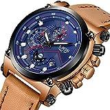 LIGE Relojes Hombre Militar Impermeable Deportes Analogicos Cuarzo Relojes Hombre Azul Automática Fecha Cuero Relojes