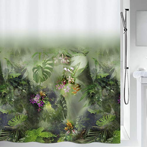 "Spirella Anti-Schimmel Duschvorhang - Anti-Bakteriell, waschbar, wasserdicht, Polyester, ""Jungle"" 180x200cm Weiß Grün"