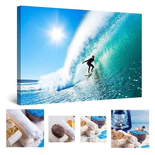 Eco Light Wall Art Bundle sur Toile Derrière Surfer sur la Vague Parfaite 60 x 90 cm pour décoration intérieure et Charmante de Salle de Bain Spa Collage Lot de 4 encadrée Illustrations.