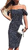 Vestido de Verano de Mujer Tubo Delgado Vestido de Noche Bodycon Fuera del Hombro Estampado de Lunares Casual Elegante Vintage (BLU, XXL)