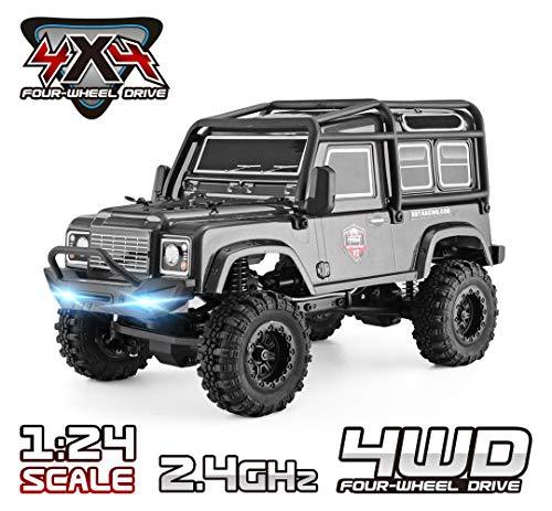 RGT RC Crawler 1:24 Scale 4WD Off Road RC Car Mini Monster Truck Hobby Crawler Cruiser RTR 4X4 Waterproof Rock Crawler Grey