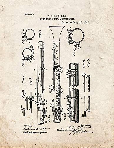 Clarinete M10079 - Impresión de aspecto antiguo (12,7 x 17,7 cm)