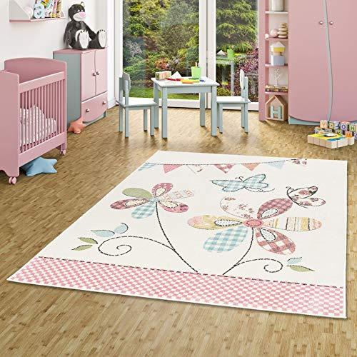 Pergamon Ivy Pastel - Alfombra Infantil - Flores Mariposa de Colores - 5 Tamaños