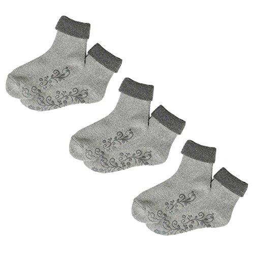 Affe Damen Socken aus Angora & Wolle - 3 Paare Frauen Mädchen Antirutsch Söckchen - Mit Blume Muster (Grau)