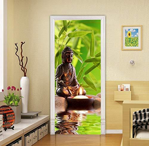 Creatieve 3D Boeddha Groen Blad Kaars PVC Waterdichte Zelfklevende Milieuvriendelijke Home Decoratie Slaapkamer Woonkamer Art Design Zonsondergang 85 * 200cm