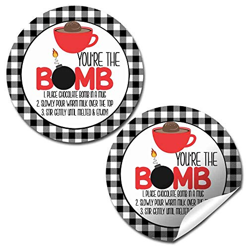 You're The Bomb Red Mug With Buffalo Plaid Border All-Occasion Hot Cocoa Bomb Sticker Labels, 40 2' Circle Stickers by AmandaCreation