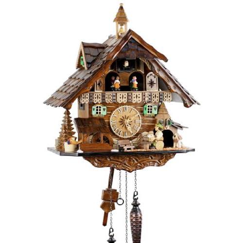 Eble 4832 QMT - Orologio a cucù al quarzo, in vero legno, dalla Foresta nera, funzionamento a pile, con carillon musicale, 41 cm
