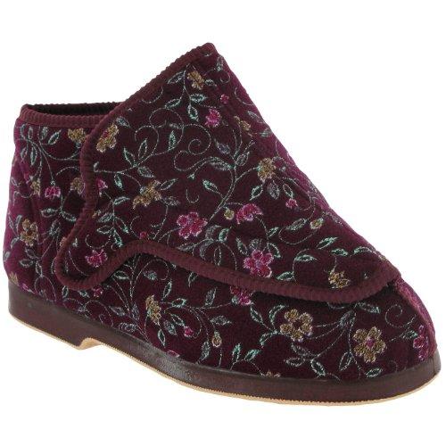 GBS Slippers - Pantofole Rhona da donna a pianta larga, Rosso (Wine Floral), 36 (4 UK)