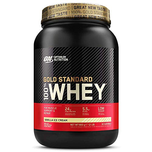 Optimum Nutrition Gold Standard Whey Protein Powder Muscle Building Supplements With Glutamine and Amino Acids, Vanilla Ice Cream, 30 Servings, 900 g, Packaging May Vary
