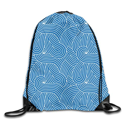 show best Blue Wave Loops Swirl Drawstring Gym Bag for Women and Men Polyester Gym Sack String Backpack for Sport Workout, School, Travel, Books 14.17 X 16.9 inch