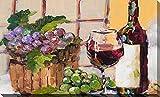 Picture Perfect International Classic Wine Still Life by Jane Slivka Print Canvas Art, 24' H x 40' W x 1.5', Green