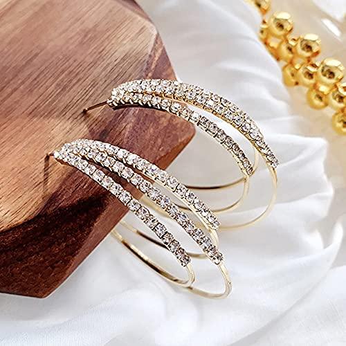 Landia Pendientes Redondos exagerados chapados en Oro Real de 14 Quilates Elegantes a la Moda para Mujer AAA, circonita Brillante Superior S925, Pendientes de Plata con Aguja, joyería