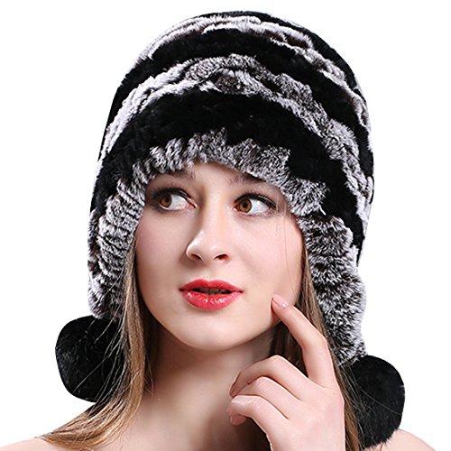 AnKoee Cappello da Donna con Cappello in Pelliccia di Finto Cappello Invernale Lavorato a Maglia, Elegante e Caldo Berretto per l'Inverno (Grigio+Nero-02)