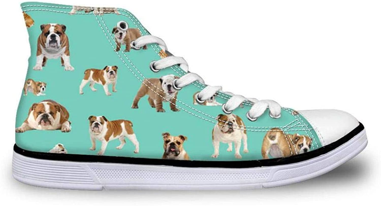 FidgetFidget Animal Bulldog Green Canvas shoes Women Girls Hi Tops Sneakers Comfy Pumps Women's US 8 blueCC3110AK