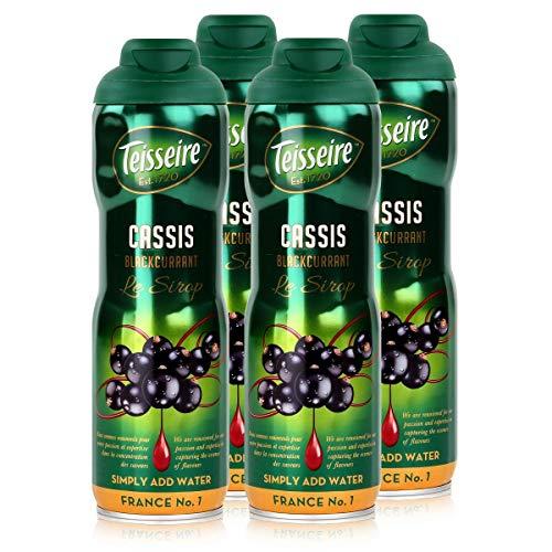 Teisseire Getränke-Sirup Cassis/Schwarze Johannisbeer 600ml - Sirup der genauso schmeckt wie die Frucht (4er Pack)