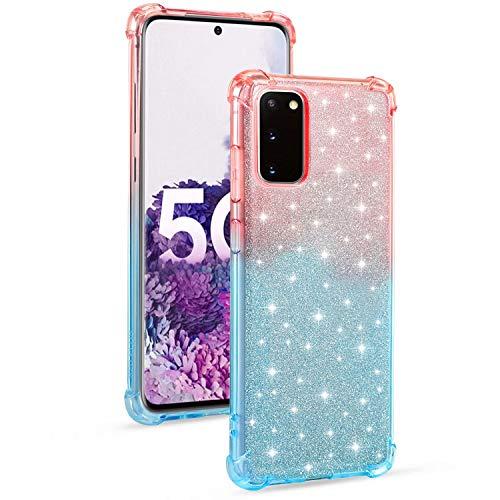 Miagon Weich Gradient Hülle für Samsung Galaxy S20 FE,Schlank Stoßfest 2 im 1 Flexibel Handyhülle Stoßstange Schutzhülle Glitzer Cover Mädchen Frauen,Rosa Blau