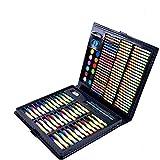 Yangxuelian Set de Pintura Juego de Arte de 160 Piezas de Medios Mixtos, Estuche de Madera, Pintura al óleo Suave, Pintura de acrílico y Acuarela, boceto, carboncillo y lápices de Colores, Regla