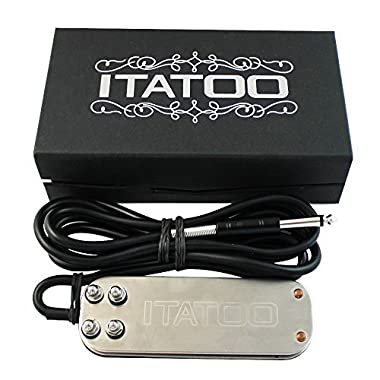 ITATOO Tattoo Foot Pedal for Tattoo Power Supply Tattoo Machine Stainless Steel Heavy Duty Tattoo Foot Switch Pedal 5.9 FT Pedal Power Cord N1007-31