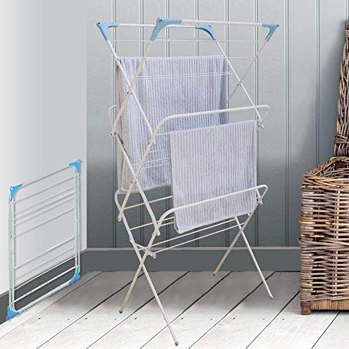 3 Tier Folding Winged Clothes Airer Indoor Outdoor Laundry Washing Drying...