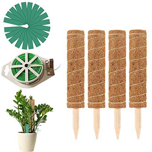 4 Stück 30cm Pflanzstab Kokos Rankstab Rankhilfe Blumenstab mit 20er Pflanzen Etiketten und 65 Fuß Garten Bindedraht, Pflanzenstützstäbchen Für Haus Garten Kletterpflanze Erweiterung