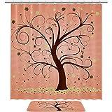 TIKISMILE - Juego de cortinas de ducha de tela de poliéster impermeable con diseño de árbol otoñal con alfombra antideslizante de 60 x 40 cm, cortinas de ducha con 12 ganchos para baño