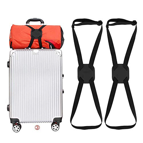 SUNSHINETEK Luggage Straps 2 Pack Heavy Duty Suitcase Elastic Belt Adjustable Bag Bungees with Buckles and More Applications