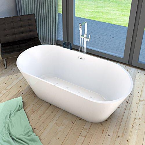 AcquaVapore freistehende Badewanne Wanne Whirlpool FSW11 170cm mit Luftmassage, Armatur:mit Armatur AFSW05 +190.-EUR