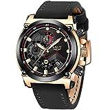 LIGE Hombre Relojes Moda Lujo Oro Reloj Hombres Negocios Clásico Negro Cuero Automática Fecha Relojes