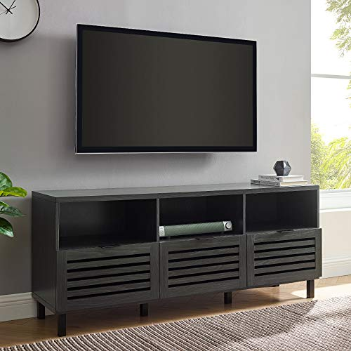 """Walker Edison Modern Wood Stand with Slat TV's up to 65"""" Flat Screen Living Room Storage Cabinet Doors and Shelves Entertainment Center, 58 Inch, Graphite"""