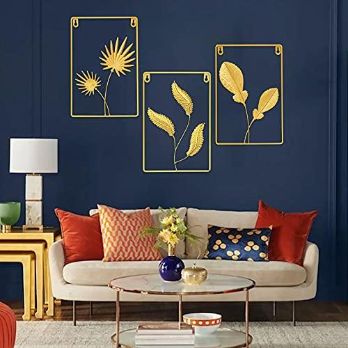 Mitchell - Escultura de metal para pared, 3 unidades, diseño de hojas de ginkgo, decoración de pared, para sala de estar, dormitorio, fondo de pared moderno (ángulo)