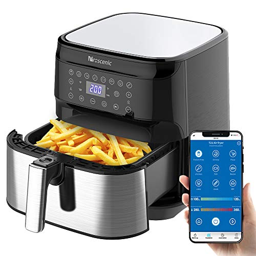 Proscenic T21 Smart Air Fryer, App & Alexa Control, XL 5. 8QT, 1700 Watt Electric Air Fryers Oven & Oilless Cooker, 8 Cooking Presets, LED Touchscreen, Nonstick Basket, Preheat, Black
