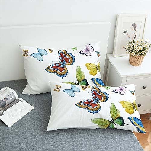 Sticker superb Bohemia Marroquí Indio Flor Funda de Almohada, Atrapasueños Azul Amarillo Púrpura Negro Mariposa Funda de Almohada 2 Piezas Microfibra Poliéster (Mariposa, 50x75cm)