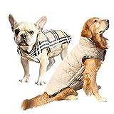 犬服 冬 中型犬 大型犬向け 小型犬もあり リバーシブル ダウン風 ベスト ドッグウェア 冬 超大型犬 オシャレ ジャケット リード穴あり 簡単マジックテープ脱着 防寒 コート(ベージュL)