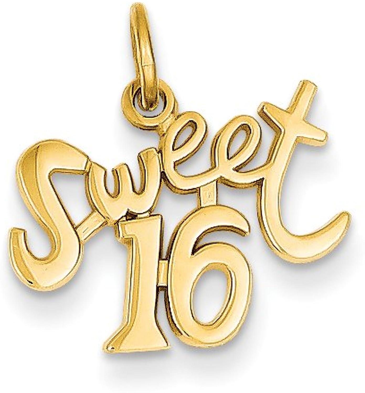Diamond2Deal 14k Yellow gold Sweet 16 Pendant