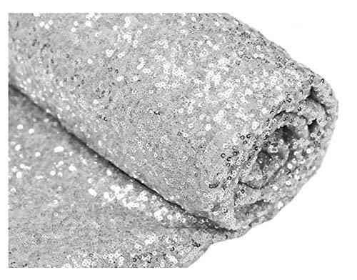 ShinyBeauty Pailletten-Stoff Meterware Schwarz 1 Meter Sparkly Stoff glitzernder Stoff, Pailletten-Stoff (1 Meter, Silber)