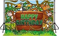 Zhy動物の 背景7X5FTモンキーヘビリスクマタイガージャングル漫画写真の背景 キッズバースデーパーティーベビーシャワー装飾写真撮影小道具217