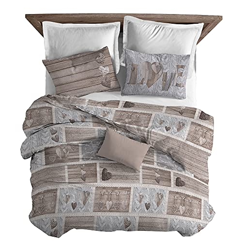Il Gruppone Passione Casa Parure copripiumino made in Italy 100% cotone con stampa sacco e federe, singolo o matrimoniale, parure letto (Shabby in Love Beige, Matrimoniale)