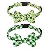 PUPTECK Bowtie Dog Collars for Small Medium Doggies Puppy with Avocado Printing and Plaid Pattern 2 Pieces, Cute and Comfortable with Removable Bow