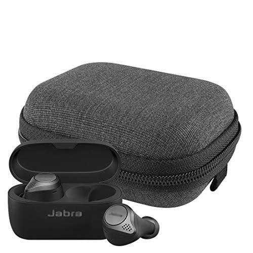 LinkIdea Estuche duro para auriculares Jabra Elite 75t, Elite 75t Jabra 2019 lona bolsa de viaje, funda de almacenamiento para auriculares con espacio para cable de carga y piezas (negro)