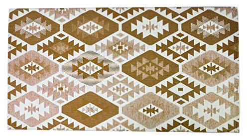 CASA TESSILE Tapis Polyvalent dérapant Jacquard TIPICO - Beige, 60x110 cm.